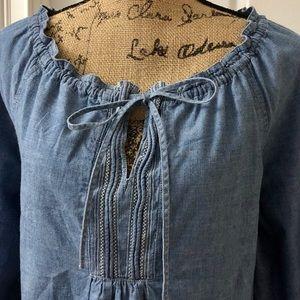 IZOD denim peasant blouse